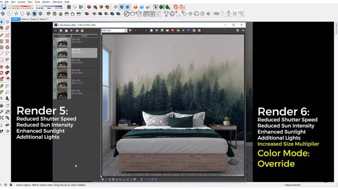 How to set up light for a daytime interior rendering with Vray 3.4 for sketchup