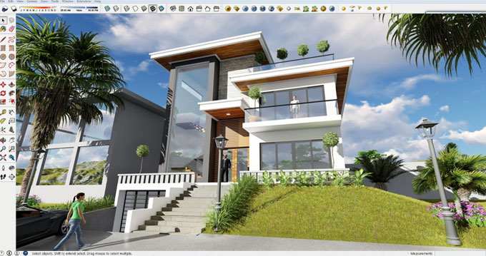 How to design an exterior view of a modern 3 stories house with sketchup