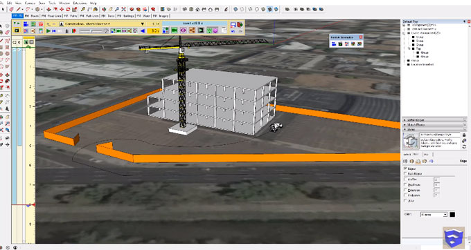 How to create a moving animation of a construction site