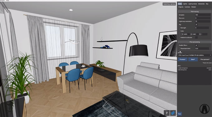 Shapespark is useful sketchup extension to view your rendering in real time