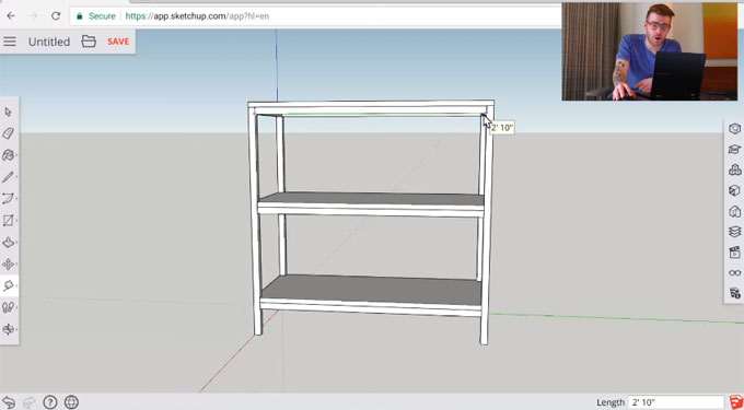 How to create the design of a bookshelf in 3D with sketchup