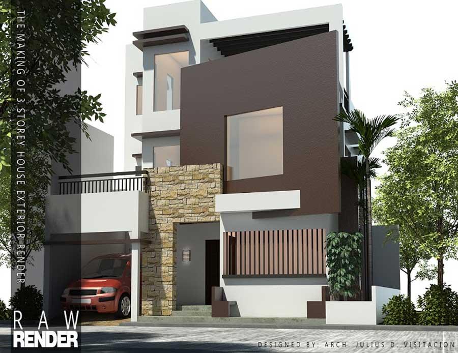 Making Of 3 Storey House Exterior Sketchup 3d Rendering