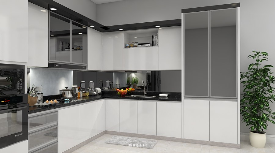 Free 3D Models - KITCHEN - Modern Black & White Kitchen ... on Modern:8-Rtxafges8= Model Kitchen  id=89381
