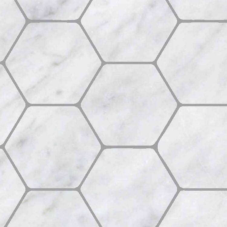 hexagonal white marble floor tile