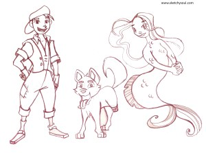 Version 01: Newsboy Sidekick Dog and Mermaid Girl