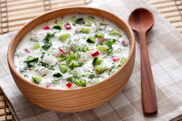 Okroshka – Traditional Dish of Russian National Cuisine, a Cold Refreshing Soup