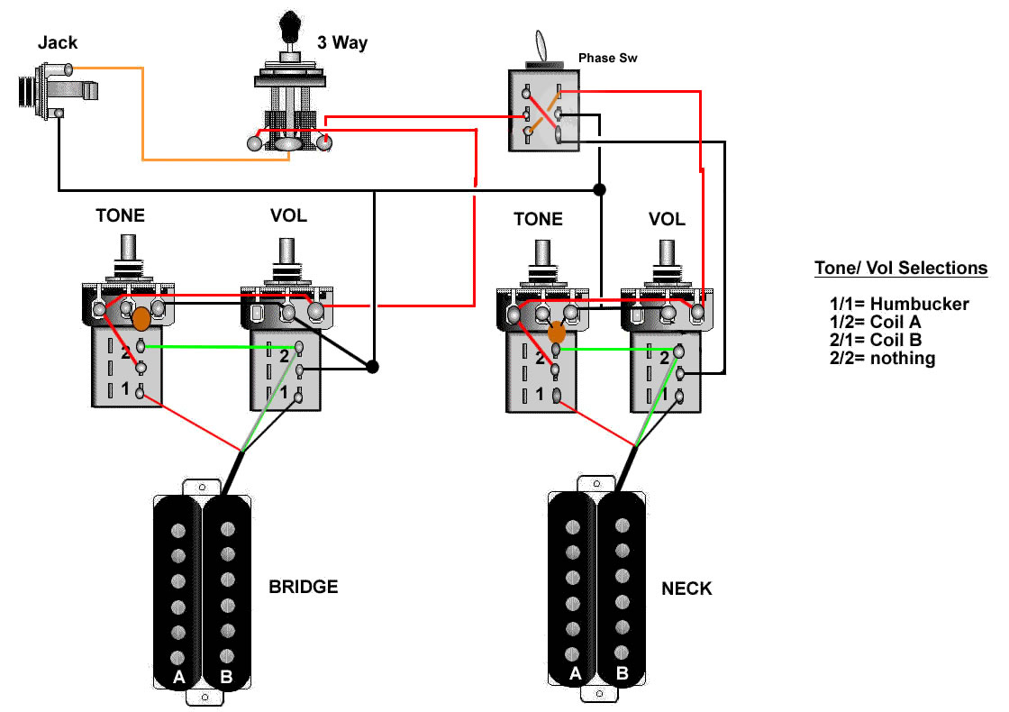 Guitar Wiring Diagram Two Humbuckers 1 Tone Volume