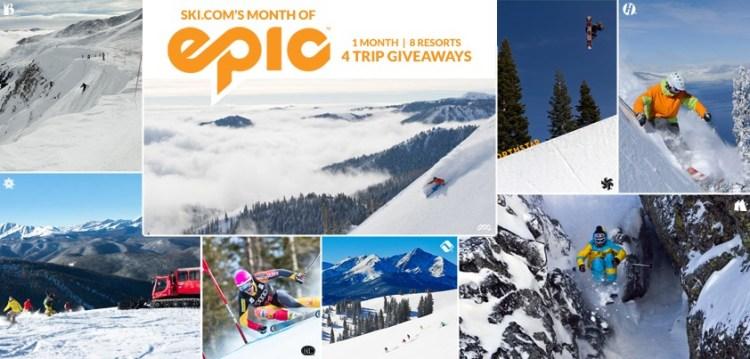 Ski.com's Month of Epic trip giveaway