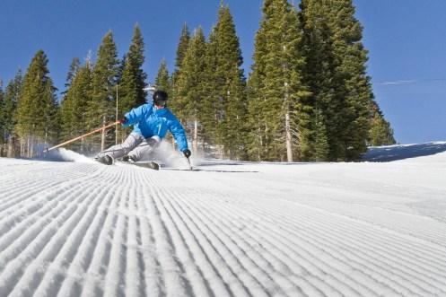 Groomer skiing at Canyons