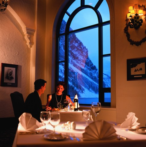 Enjoy a romantic, fine-dining experience at Fairmont Chateau at Lake Louise. pc: Fairmont Chateau Lake Louise