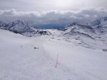The view from the top of Cervinia's 7-mile long run.