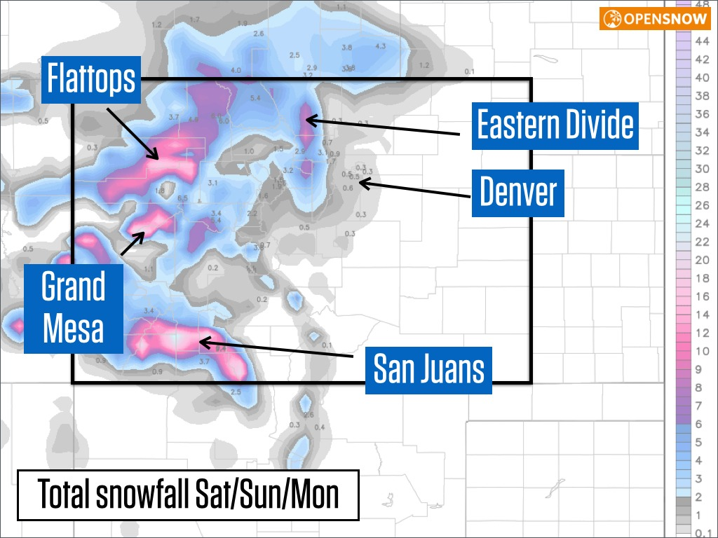 Telluride and the San Juans could see 10 inches and the Western Slope and Powderhorn could see six-plus inches.