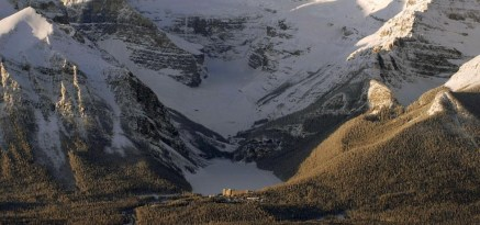 An aerial view of Lake Louise and the chalet.