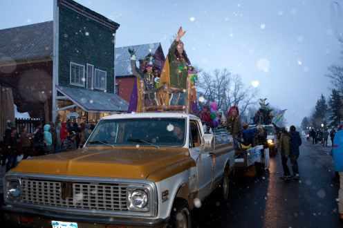 Crested Butte locals take advantage of any excuse to dress up, especially on Mardi Gras. pc: CBMR