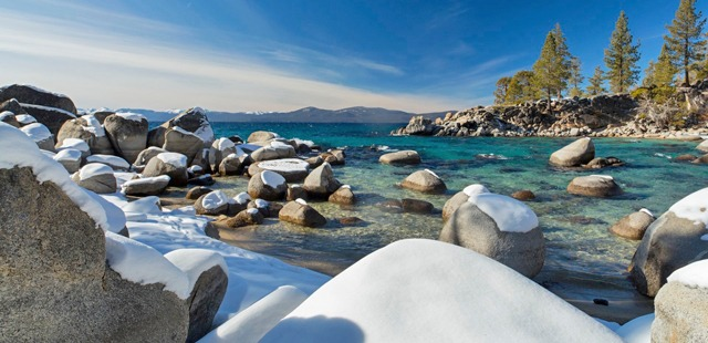 Lake Tahoe's sparkling blue waters are just outside the Hyatt Regency Lake Tahoe.