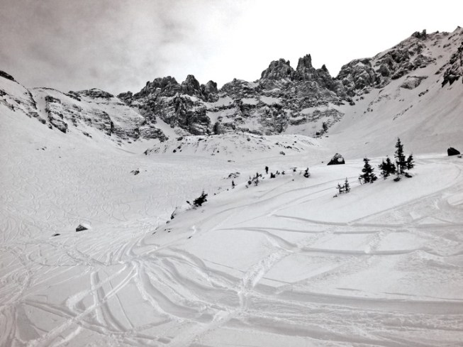 Black Iron Bowl sits beneath the looming Palmyra Peak and offers experts couloirs, steeps, cliffs and open powder terrain. | Photo: Telluride Ski Resort