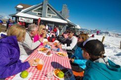 Snowmass also provides excellent beginner terrain and an array of sunny patios to enjoy. | Photo: Aspen Snowmass
