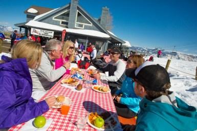Snowmass also provides excellent beginner terrain and an array of sunny patios to enjoy. | Photo: Aspen Snowmass
