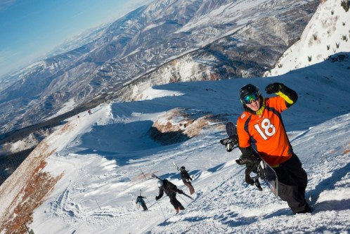 Broncos stoke is one of the best forms of fuel for hiking Highland Bowl. | Photo: Aspen Snowmass