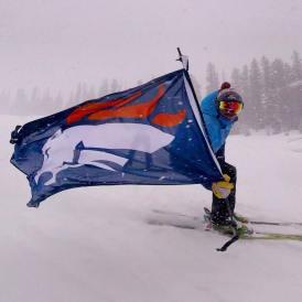 Telluridans have a tendency to ski around with huge Broncos flags. | Photo: Telluride Ski Resort