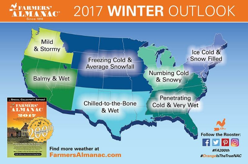 2017 Farmer's Almanac Winter Forecast