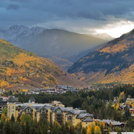 Vail with a dusting on its peaks at twilight on Sept. 24.   Photo: David Neff, Vail