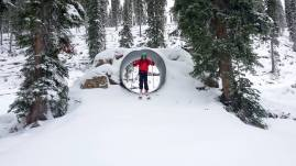 Revelstoke ski patrollers testing out the tunnel in the new kids zone on Oct. 21.