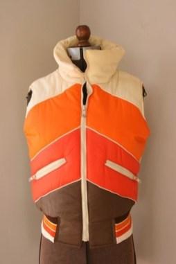 70s puffy vest, 70s retro ski vest