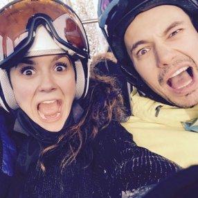 Nina Dobrev skiing