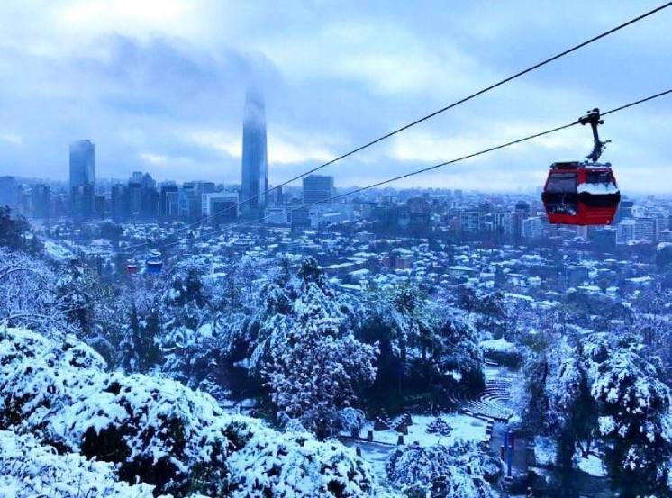 snowfall hits Santiago, Chile