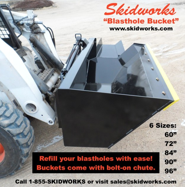 skid steer, blasthole, blasting company bucket, demolition