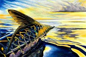 """Sunset Tarpon"", ©2016. Lindsay Rowland/LMR Art. http://www.lmrart.com/"
