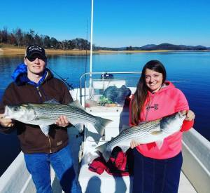 Carolina Skiff – They made us work for it today.  We finally found some hungry striper and had a …