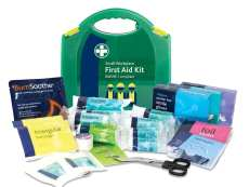 A small workplace first aid kit in green. Which is BS8599-1 compliant with the contents displayed
