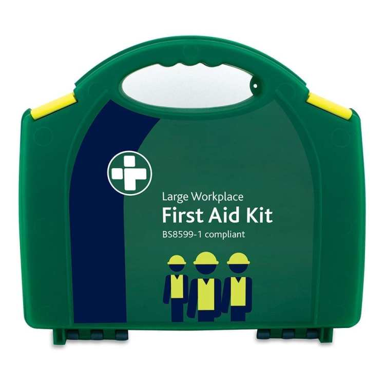 A large workplace first aid kit in green which is BS8599-1 compliant.