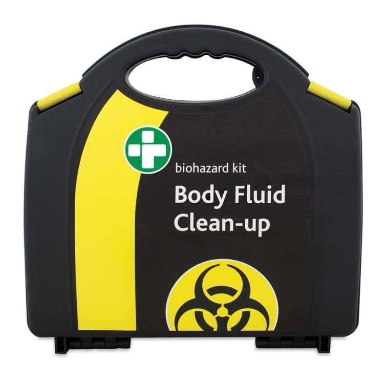 A body fluid clean up kit box in black and yellow