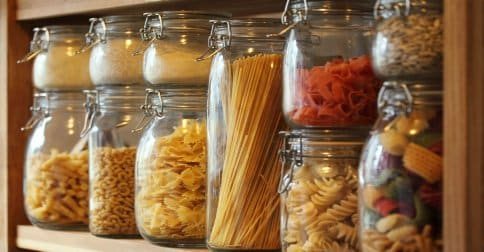 Survival Food - Row Of Dried Pasta
