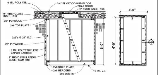 Underground Root Cellar Schematic 1