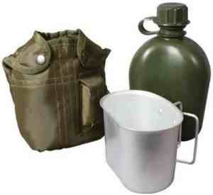 water canteen with cup for boiling