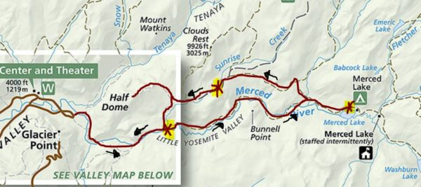 Yosemite Backpack Trail Map