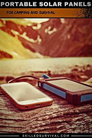 Portable Solar Charger In The Mountains