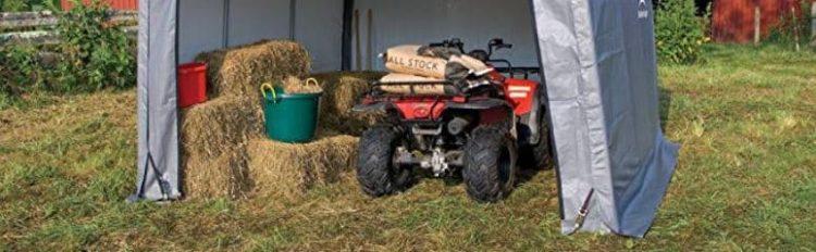 ATV In A Portable Garage