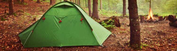 small tent in a campground