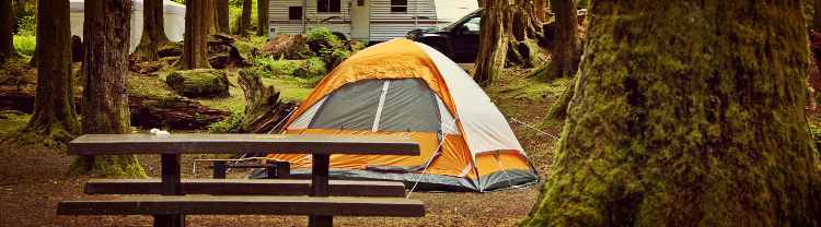 campsite with a dome tent