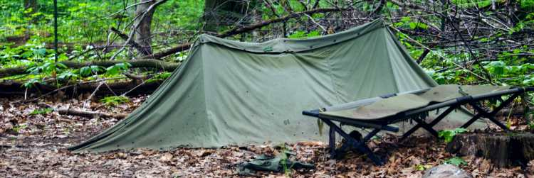 camping cot sitting outside a tent