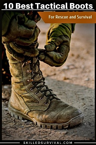 Military Tactical Boots Being Laced Up
