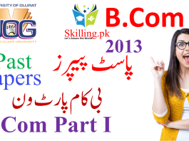 University of Gujrat Past Papers B.Com Part I 2013
