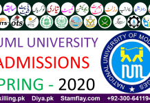 NUML UNIVERSITY ADMISSIONS SPRING - 2020 (S20)