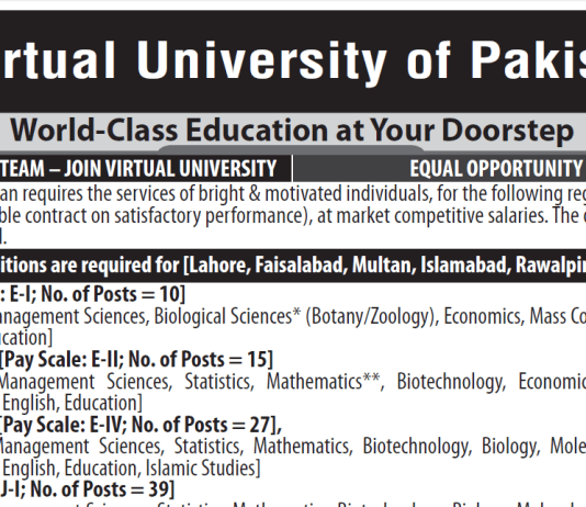 Virtual University Of Pakistan Jobs August 2020