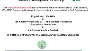 APSSDC, Government of Andhra Pradesh invites proposals for Selection